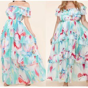 Latiste Floral Watercolor Maxi Dress